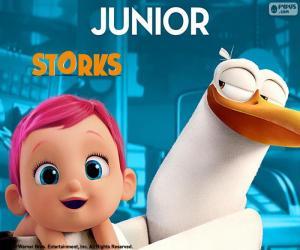 Układanka Junior, główny bohater bocian
