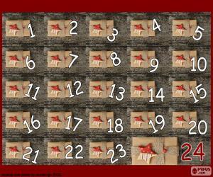 Układanka Kalendarz adwentowy prezenty