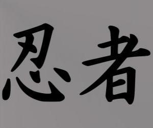 Układanka Kanji lub ideogram dla Ninja pojęcie w języku japońskim systemie zapisu