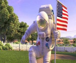 Układanka Kapitan Charles Chuck Baker, wbijanie amerykańską flagę na ziemię, na Planet 51