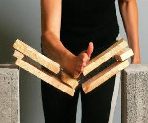 Układanka Karateca łamanie kawałek z uderzeniem ręką