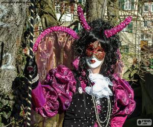 Układanka Karnawałowe sukienka różowa