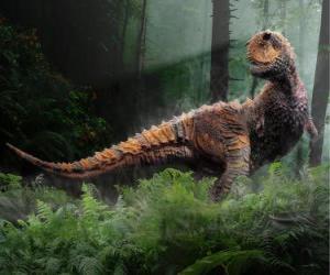 Układanka Karnotaur, najbardziej zauważalną tego dinozaura to dwa małe rogi powyżej oczy na główkę