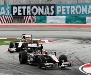 Układanka Karun Chandhok, Bruno Senna - HRT - Sepang 2010