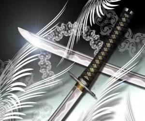 Układanka Katana jest najbardziej znaną broń z ninja i samurajów