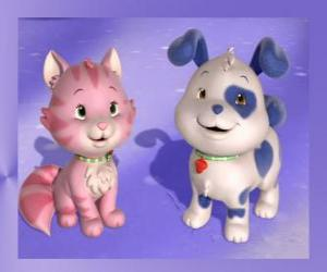 Układanka Keksik jest szczeniak Truskawkowe Ciastko z Kremówka jest kotek z Truskawkowe Ciastko