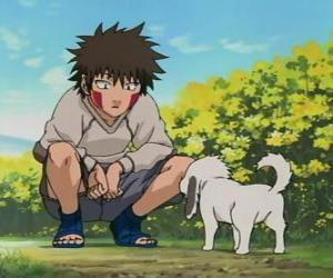Układanka Kiba Inuzuka i jego pies i najlepszy przyjaciel Akamaru są częścią zespołu 8
