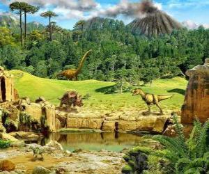 Układanka Kilka dinozaurów z erupcji wulkanu w tle