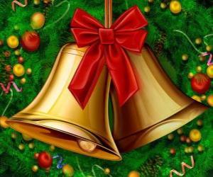 Układanka Kilka dzwonki świąteczne wstążką