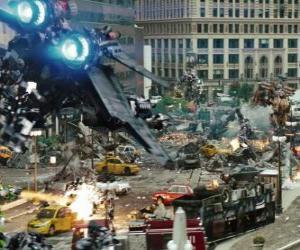 Układanka Kilka Transformers walki w mieście