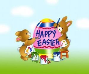 Układanka Kilka zające malowanie pisanek na Wielkanoc