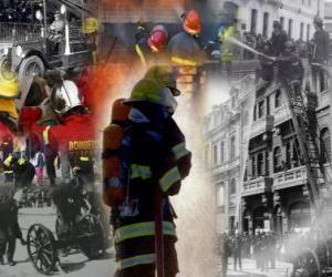 Układanka Kilka zdjęć strażaków