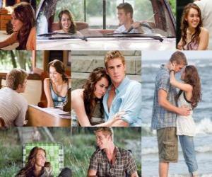 Układanka Kilka zdjęć z Miley Cyrus i Liam Hemsworth w swoim najnowszym filmie, Ostatnia piosenka.