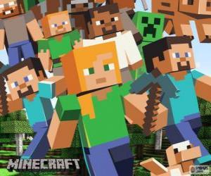 Układanka Kilka znaków z Minecraft
