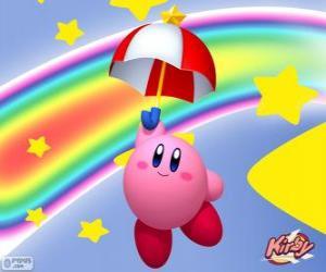 Układanka Kirby z parasolem latające wśród gwiazd i tęczę