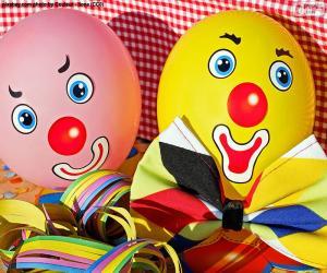Układanka Klaun balony