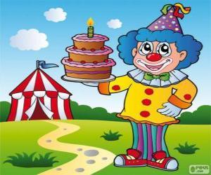 Układanka Klaun ciastem rocznica