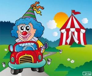 Układanka Klaun w samochodzie