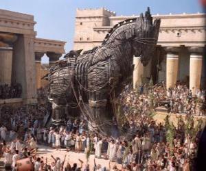 Układanka Koń trojański, olbrzymi drewniany koń pusty