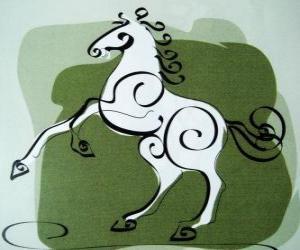 Układanka Koń, znak Konia, Rok Konia w chińskiej astrologii. Siódmy zwierząt chińskiego zodiaku