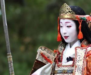 Układanka Kobieta kobieta wojownik samurajem z kataną