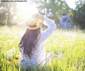 Układanka Kobieta w polu na wiosnę