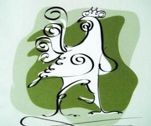 Układanka Kogut, znak Kogut, Rok Koguta w chińskiej astrologii. Dziesiątą chińskiej zwierząt horoskop