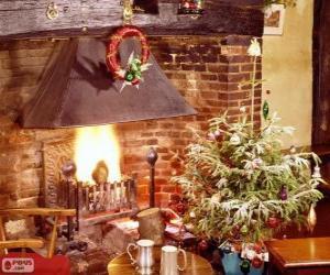 Układanka Kominek rustykalny urządzone na Boże Narodzenie