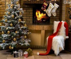 Układanka Kominkiem urządzone na Boże Narodzenie