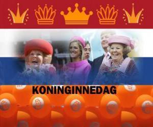 Układanka Koninginnedag lub Dzień Królowej, święto narodowe w Holandii 30 kwietnia z okazji urodzin królowej