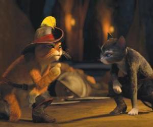 Układanka Kot w butach rozmawia z Kitty