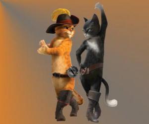 Układanka Kot w butach tańczy z Kitty kotka