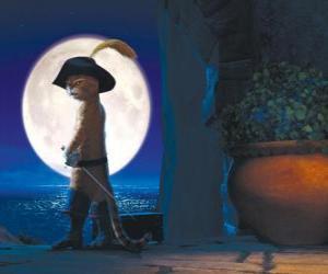 Układanka Kot w butach w księżycową noc