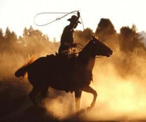 Układanka Kowboj koniu z lasso