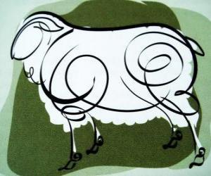 Układanka Kozy, znak Kozła, rok Kozła w chińskiej astrologii. Ósmy znak chińskiego kalendarza