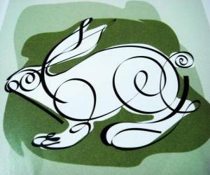 Układanka Królik, znak królika, Rok Królika. Czwarty zwierząt w chińskim horoskopie