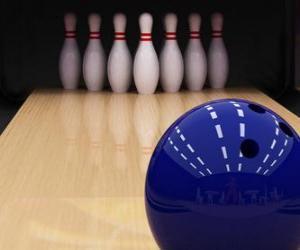 Układanka Kręgle. Kula do kręgli na kołkach kręgiel. Bowling