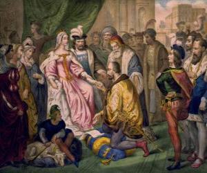 Układanka Krzysztofa Kolumba mówi do królowej Izabeli I Kastylijskiej, na dworze Ferdynanda i Izabeli