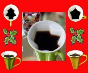 Układanka kubki do kawy, Boże Narodzenie kształtów