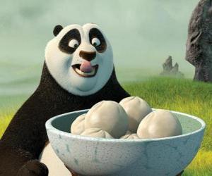 Układanka Kung Fu Panda chce jeść niektórych ciastka z ryżu
