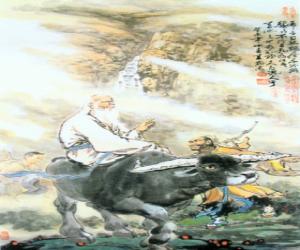Układanka Laozi, philosofer starożytnych Chin, centralną postacią taoizmu, jazda Buffalo