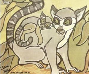 Układanka Lemur jej dziecko. Rysunek z Julieta Vitali