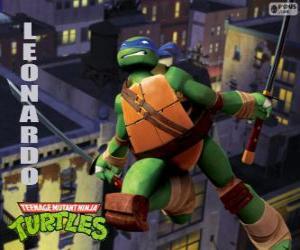 Układanka Leonardo, żółw ninja atakuje katany