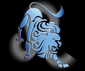 Układanka Lew. Lew. Piąty znak zodiaku. Łacińska nazwa jest Leo