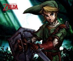 Układanka Link z mieczem i tarczą w przygody The Legend of Zelda gier wideo