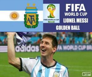 Układanka Lionel Messi, złotą piłkę. Brazylia 2014 roku Puchar Świata