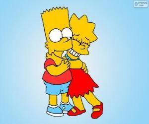Układanka Lisa i Bart objął sobą dobre braci
