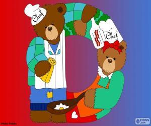 Układanka Litera D niedźwiedzie