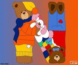 Układanka Litera N niedźwiedzie