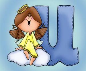 Układanka Litera U z aniołem
